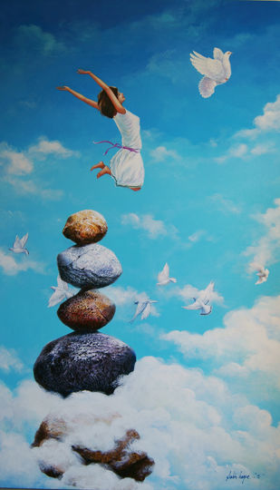 Fly by Sabir Haque, Surrealism Painting, Acrylic on Canvas, Cyan color