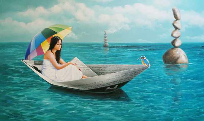 Chithir Vela by Sabir Haque, Surrealism Painting, Acrylic on Canvas, Cyan color
