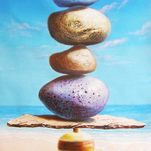 Balance by Sabir Haque, Surrealism Painting, Acrylic on Canvas, Cyan color