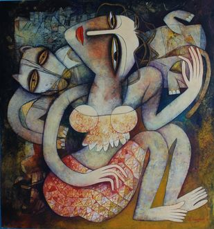 Untitled by Dhrubajyoti Baral, Conceptual Painting, Tempera on Canvas Board, Brown color