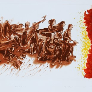Kiss of Fire by Mahesh Prajapati, Conceptual Printmaking, Intaglio on Paper, Brown color