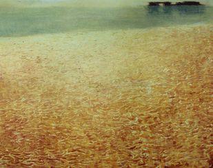 Landscape 4 by Enna Kathrecha, Impressionism , Oil on Paper, Beige color