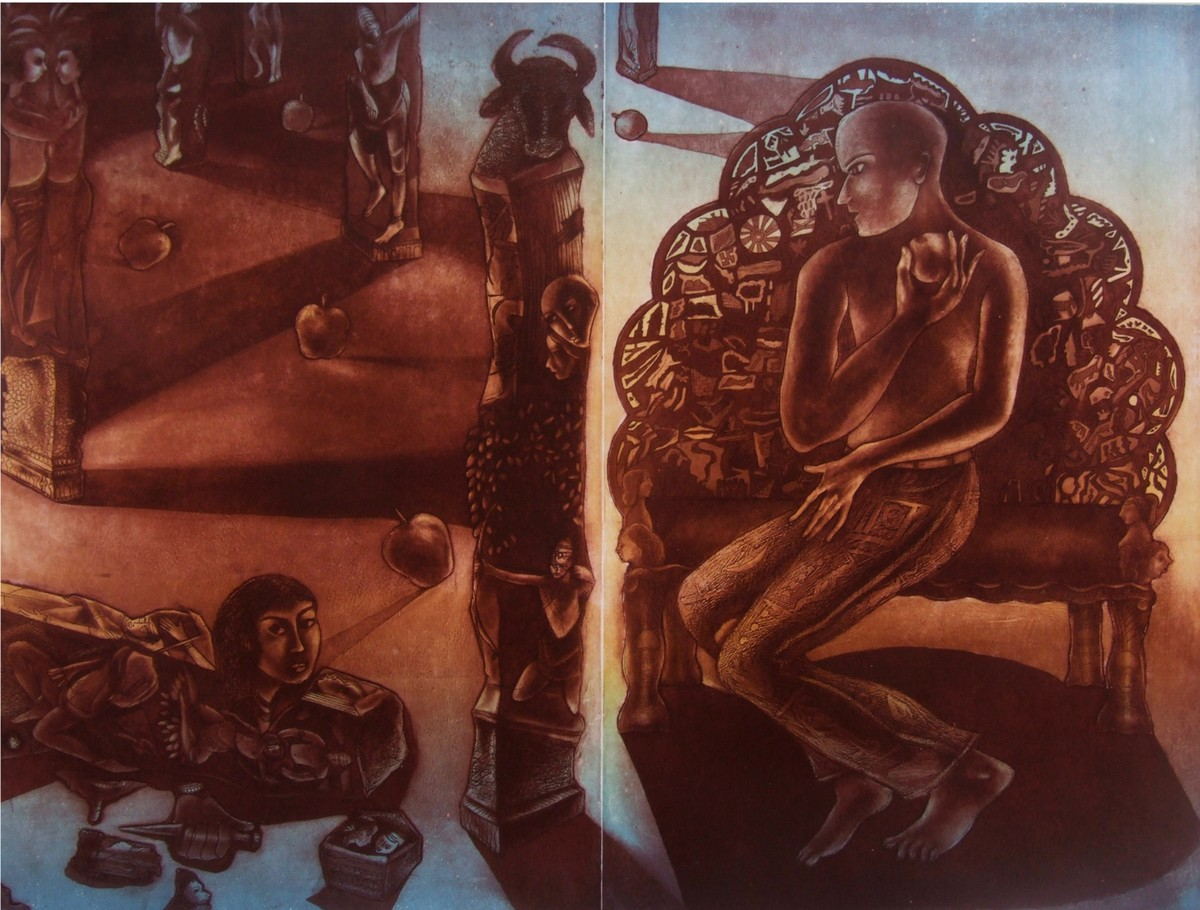 Time - Past, Present and Future by Mahesh Prajapati, Conceptual Printmaking, Intaglio on Paper, Brown color
