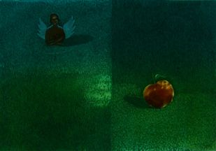 Her Desire III by Mahesh Prajapati, Conceptual Printmaking, Intaglio on Paper, Green color