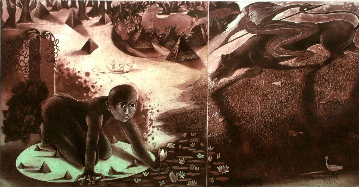Life - Unending Hopes and Desires by Mahesh Prajapati, Conceptual Printmaking, Intaglio on Paper, Brown color