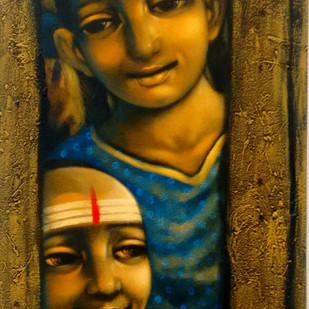 Broken Compound by Apet Pramod Mahadev, Decorative Painting, Acrylic on Canvas, Brown color