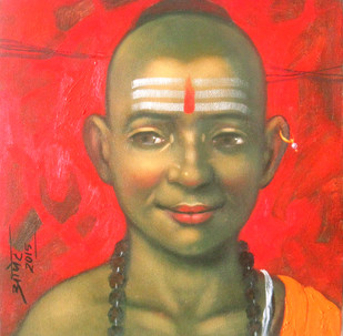 Boy by Apet Pramod Mahadev, Decorative Painting, Acrylic on Canvas, Red color