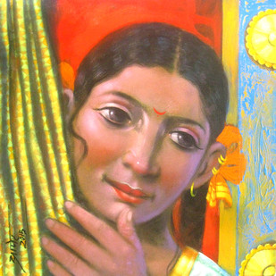 Girl by Apet Pramod Mahadev, Decorative Painting, Acrylic on Canvas, Brown color