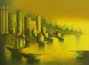Golden Banaras Artwork By Somnath Bothe