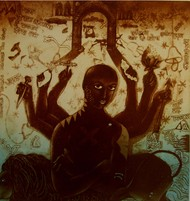 Existence by Mahesh Prajapati, Conceptual Printmaking, Intaglio on Paper, Brown color