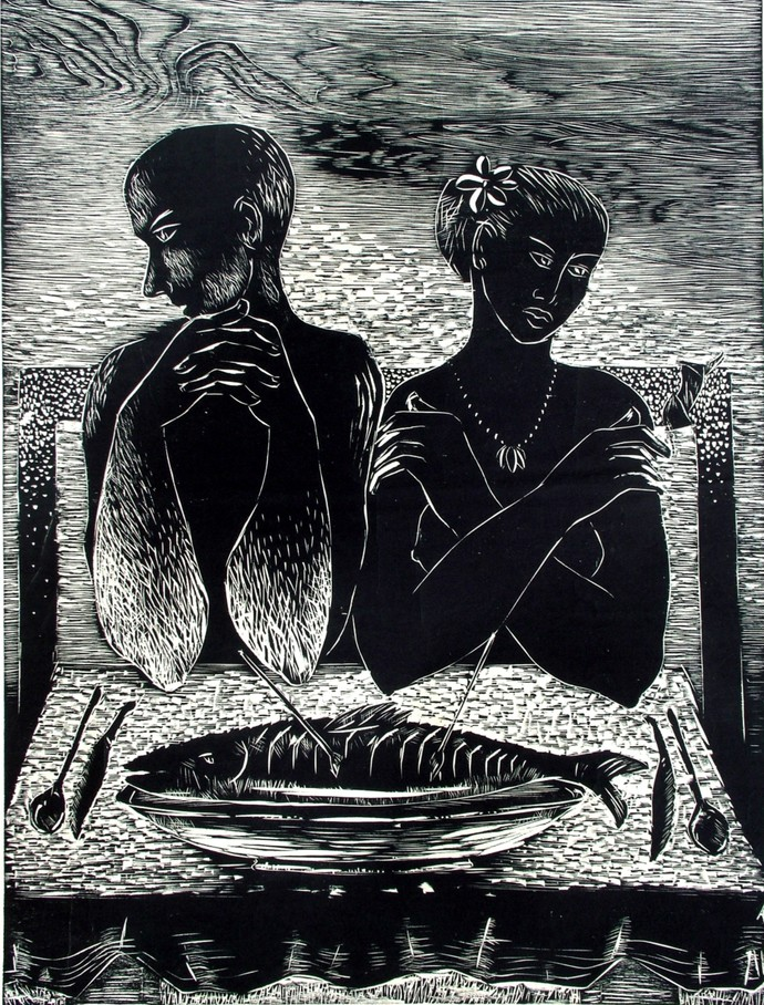 Dilemma by Mahesh Prajapati, Illustration Printmaking, Wood Cut on Paper, Gray color