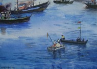 Blue Water by Sunil Bambal, Impressionism Painting, Watercolor on Paper, Blue color