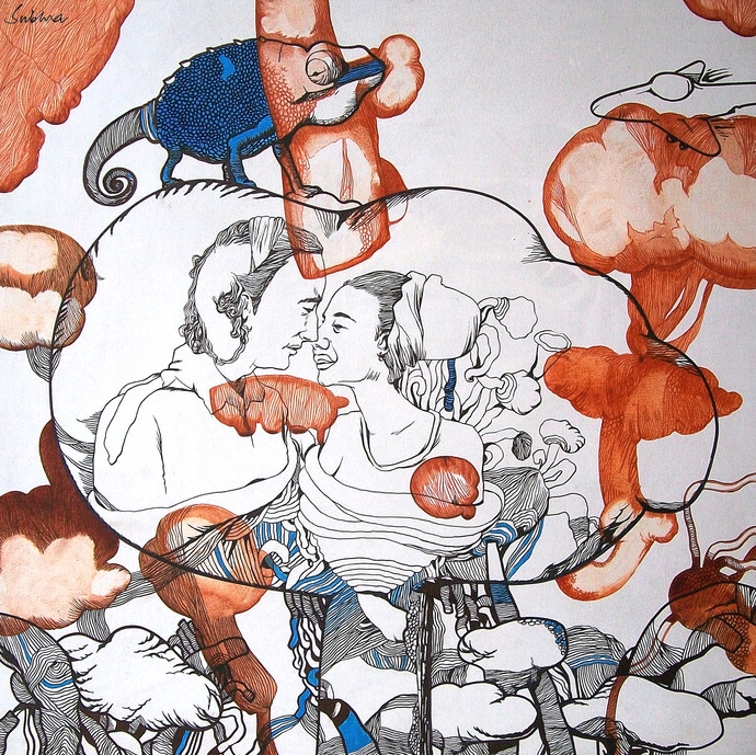 My Garden With Tobacco Bubbles 1 by Subhra Kumar Banerjee, Illustration Painting, Acrylic & Ink on Canvas, Gray color