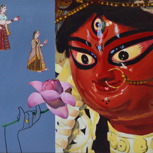 Devi Durga by Sayak Mitra, Decorative Painting, Acrylic on Canvas, Brown color