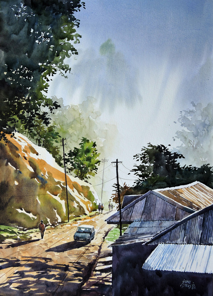 Good Morning by Sunil Linus De, Impressionism Painting, Watercolor on Paper, Cyan color