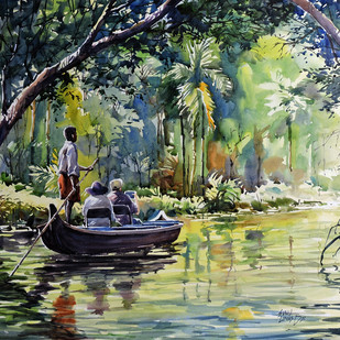 Kumarakom Backwater by Sunil Linus De, Impressionism Painting, Watercolor on Paper, Green color