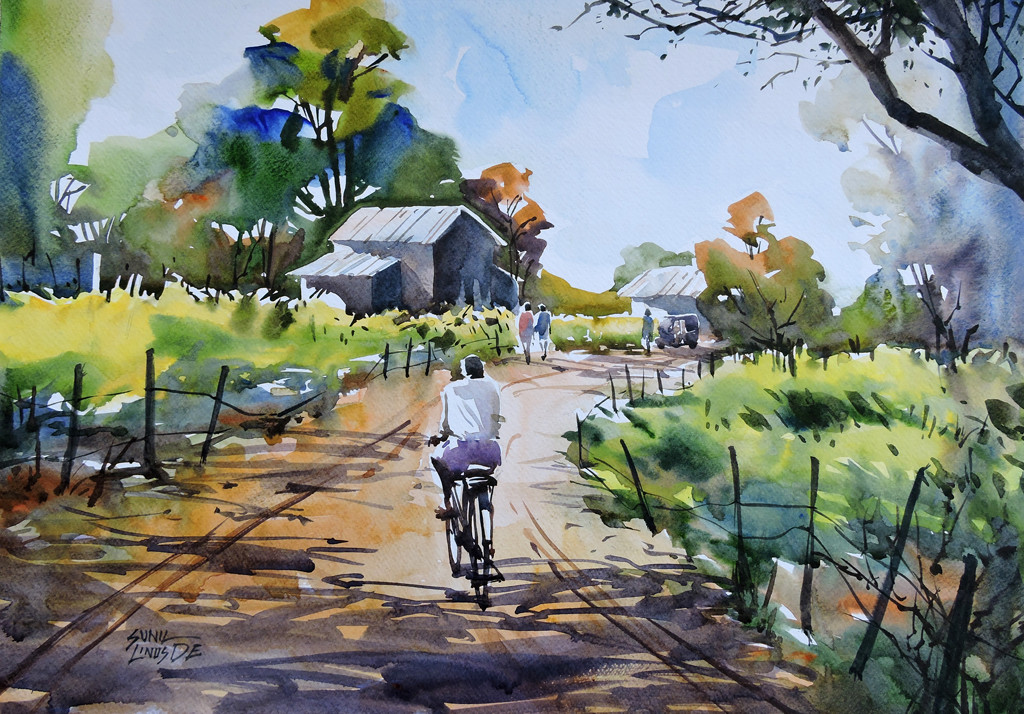 Village by Sunil Linus De, Impressionism Painting, Watercolor on Paper, Green color