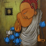 Lord Buddha by Hitendra Singh Bhati, Decorative Painting, Acrylic on Canvas, Brown color