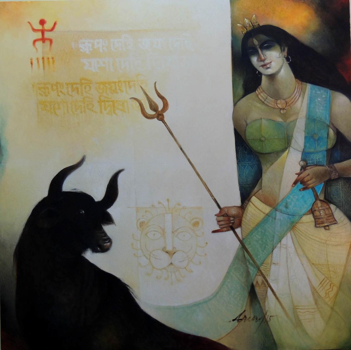 Durga by Arun Kumar Samadder, Decorative , Oil on Canvas, Gray color