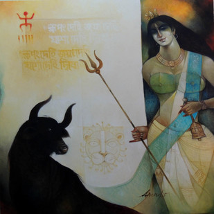 Durga by Arun Kumar Samadder, Decorative , Oil on Canvas, Gray color
