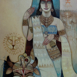 Devi by Arun Kumar Samadder, Decorative , Oil on Canvas, Brown color