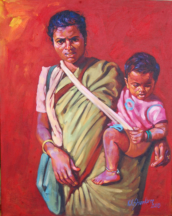 Mother & Child by K V Shankar, Realism Painting, Acrylic on Canvas, Red color