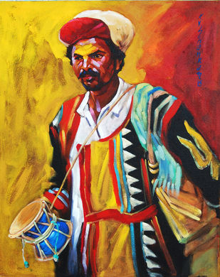 Gorappa by K V Shankar, Realism Painting, Acrylic on Canvas, Brown color