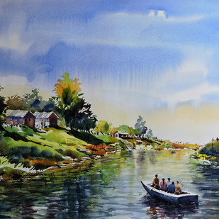 Holiday by Sunil Linus De, Impressionism Painting, Watercolor on Paper, Cyan color