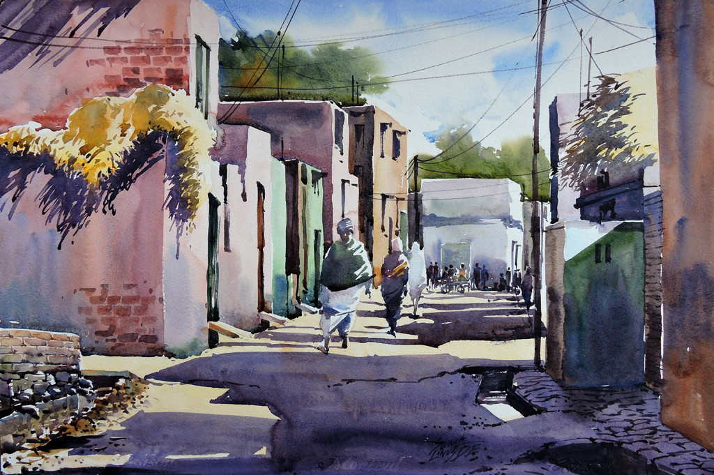 Street by Sunil Linus De, Impressionism Painting, Watercolor on Paper, Brown color