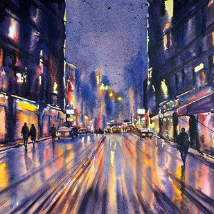 City Scape by Sunil Linus De, Impressionism Painting, Watercolor on Paper, Brown color