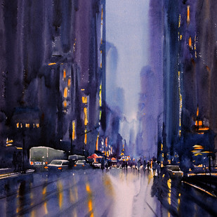 Urban Scape by Sunil Linus De, Impressionism Painting, Watercolor on Paper, Blue color