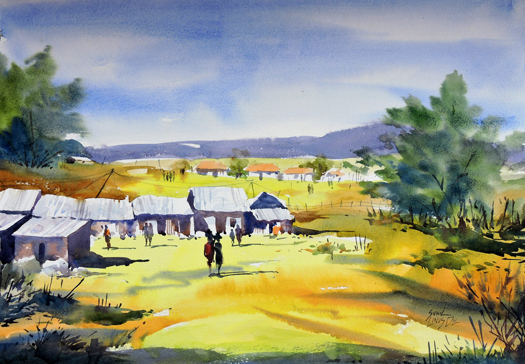 Yellow Valley by Sunil Linus De, Impressionism Painting, Watercolor on Paper, Beige color