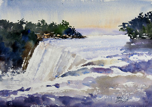 Water Fall by Sunil Linus De, Impressionism Painting, Watercolor on Paper, Gray color