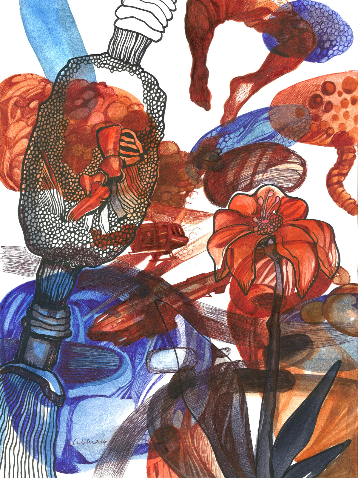 Mindscape by Subhra Kumar Banerjee, Illustration Painting, Watercolor & Ink on Paper, Brown color