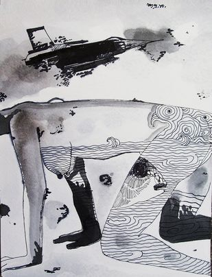 Coercion by Subhra Kumar Banerjee, Illustration Painting, Acrylic & Ink on Paper, Gray color