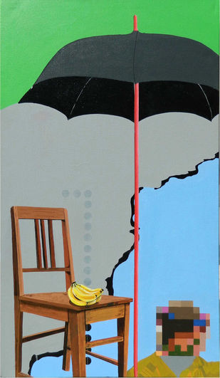 Banana Republic by Jignesh Panchal, Pop Art Painting, Acrylic on Canvas, Green color