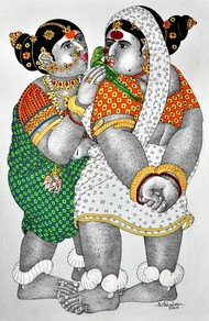 Women With Parrot by Narahari Bhawandla, Decorative Painting, Acrylic & Ink on Paper, Gray color