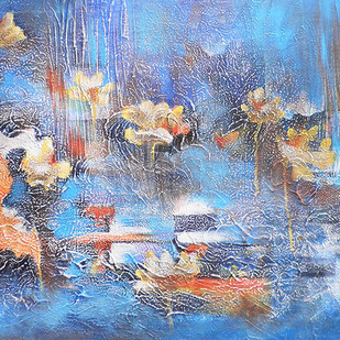 Sound of Silence 1 by Shan Re, Impressionism Painting, Acrylic on Canvas, Cyan color