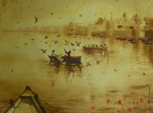 Feeding birds in Varanasi by Krishnendu Halder, Impressionism Painting, Watercolor on Paper, Beige color