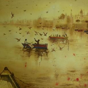 Feeding birds in Varanasi by Krishnendu Halder, Impressionism Painting, Watercolor on Paper, Beige color