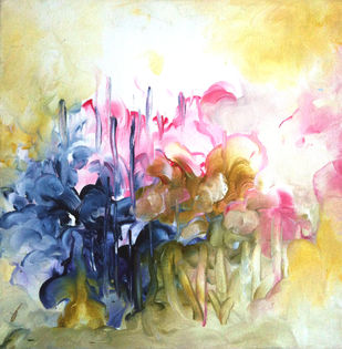 Eternal Spring by Shan Re, Impressionism Painting, Acrylic on Canvas, Beige color