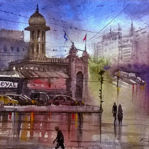 Mosamjahi market during rainy day by Krishnendu Halder, Impressionism Painting, Watercolor on Paper, Brown color
