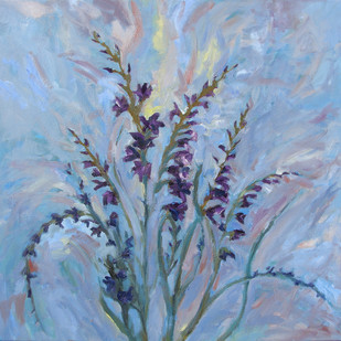 Gladiolus by Animesh Roy, Impressionism Painting, Oil on Linen, Cyan color