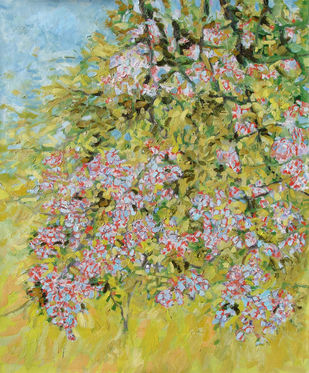 Blossoming Fruit Tree II by Animesh Roy, Impressionism , Oil on Linen, Beige color
