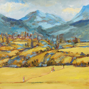 Himalaya With Wheat Fields by Animesh Roy, Impressionism Painting, Oil on Linen, Beige color