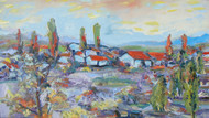 The Village by Animesh Roy, Impressionism , Oil on Linen, Brown color