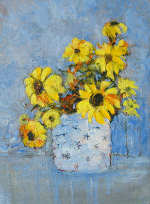 Sunflowers by Animesh Roy, Impressionism , Oil on Linen, Cyan color