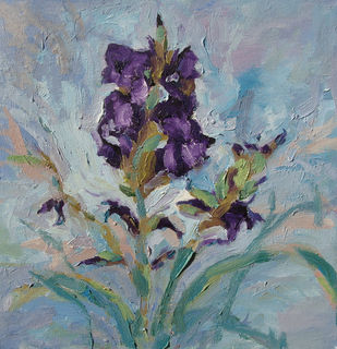 Gladiolus 5 by Animesh Roy, Impressionism , Oil on Linen, Green color