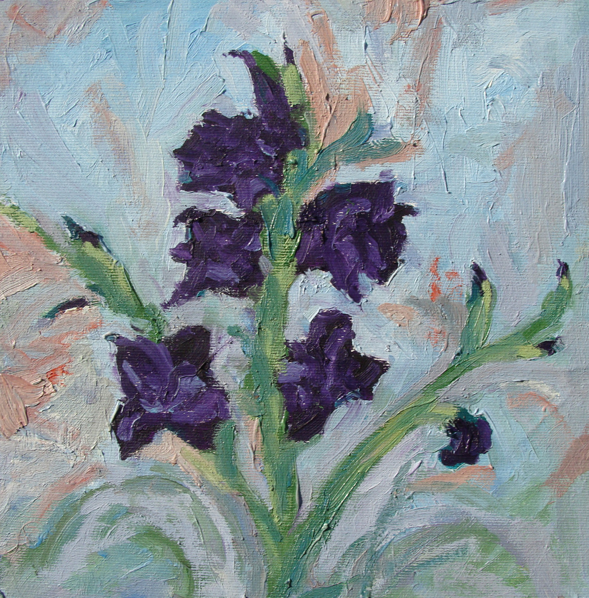 Gladiolus 6 by Animesh Roy, Impressionism Painting, Oil on Linen, Green color
