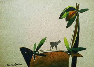 Untitled by Pradip Sengupta, Decorative Painting, Watercolor on Paper, Beige color